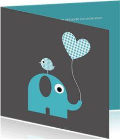 Boefjespost l Hippe geboortekaart met olifantje, vogeltje en ballon. www.boefjespost.nl