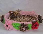 Pink Leopard Floral Dog Basket Bed with Blanket and Pillow