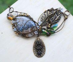 Brown Gray Semicrystalline Geode Agate Leaf Crystal Wire Wrap Artisan Necklace #Jeanninehandmade #Wrap