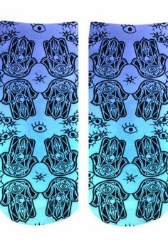 """Unisex sizing and printed on one side only.    Measures: 7.5"""" L x 3"""" W   Hamsa Ankle Socks by Living Royal. Accessories - Socks Miami, Florida"""