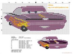 Ramone Disney Cars free cross stitch pattern (click to view)