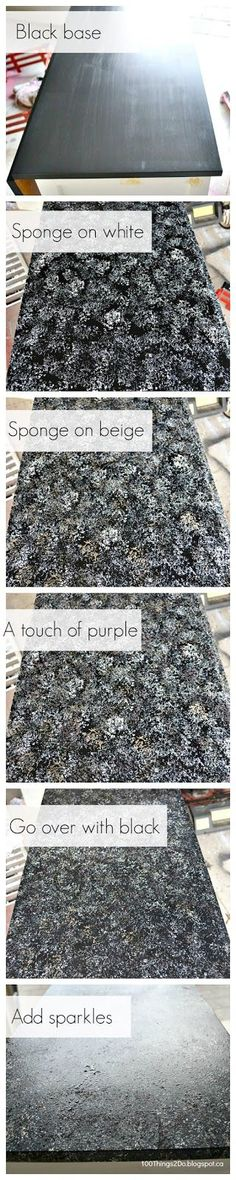 Ever wonder how to create a faux-granite look?Maybe you saw my post about the bar top I put on my hutch makeover?Well, here's the easy-peasy step by step: