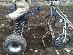 Pedal powered tractor for cultivation and seeding. culticycle   Farm Hack
