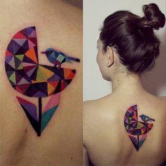 sasha unisex tattoo colorful geometric flower and bird, Sasha Unisex tattoos Pretty Tattoos, Love Tattoos, Beautiful Tattoos, New Tattoos, Tatoos, Amazing Tattoos, Diamond Tattoos, Inspiration Tattoos, Tattoo Ideas