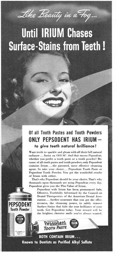 Pepsodent Tooth Pastes and Tooth Powders,  1941.