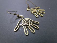 Palms Wire Wrapped Brass Earrings by Hvitolg on Etsy, $10.00