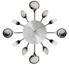 contemporary kitchen cutlery and utensil wall clock - diy it??