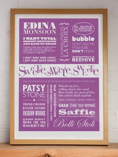 SWEETIE, SWEETIE, SWEETIE - A2 AbFab Typographic Print in Lilac. $45.00, via Etsy.