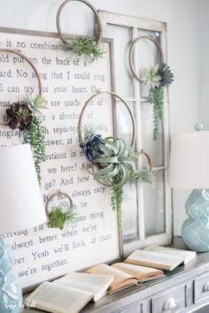 DIY Succulent Embroidery Hoop Wreaths via House by Hoff