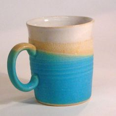 Mug satin Turquoise dip flared top. Flare Top, Gift Guide, Stoneware, Dips, It Is Finished, Friday, Cozy, Satin, Turquoise