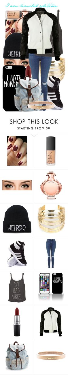 """""""I am not perfect, but I am limited edition."""" by crazy-mofo-maya ❤ liked on Polyvore featuring NARS Cosmetics, Paco Rabanne, WithChic, adidas, Billabong, MAC Cosmetics, Aéropostale, Chanel, women's clothing and women's fashion"""