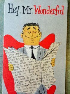 Vintage Midcentury Card, Birthday Card, Mr. Wonderful, Man Birthday Card, Card from Wife, Kitschy, Slim Jim Card, 1960s Birthday Card