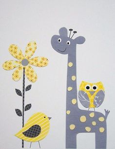 Kids Wall Art, Grey and Yellow Nursery, Nursery Art, Art for Children, Giraffe, Birds, Yellow, Gray, Pretty Yellow Flower, 8×10 Print. $14.0...