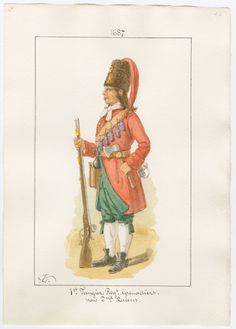 British; 1st Tangier Regiment of Foot, Grenadier, 1687 by Charles Lyall. Became 2nd(Queens) Regiment of Foot.