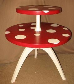 Toadstool-inspired painted two-tier table.  Maybe make a lamp with bottom white and lampshade that is red with white polka dots too?