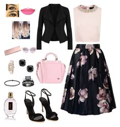 """The Soft Pink Elegant. #27"" by sashavinna on Polyvore featuring Ted Baker, Donna Karan, Givenchy, Christian Koban, Crap, Anastasia Beverly Hills and Yves Saint Laurent"