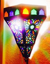 Set of 2 Moroccan / Turkish Sconces Pierced Brass Stained Glass Handcrafted