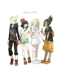Pkm Sun and Moon: Friends Forever!!  (I totally ship Gladion X Moon and Lillie X Hau!)