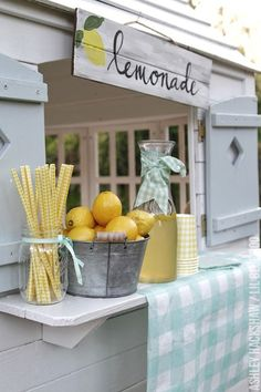Make this DIY Lemon Party Decor by MichaelsMakers Lil Blue Boo- Martha Stewart Celebrations Mother's Day Party or Spring Luncheon