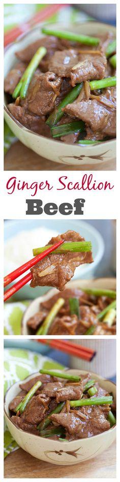 Ginger and Scallion Beef - Tender, juicy, and super delicious ginger and scallion beef made at home with simple ingredients and 15 minutes!
