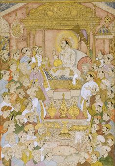 Jahangir enthroned, with courtiers in attendance Mughal Miniature Paintings, Mughal Paintings, India Painting, Indian Artist, Ancient Art, Islamic Art, Asian Art, Modern Art, Vintage World Maps