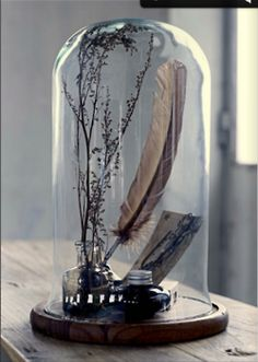 Glass cloche display with feather quill and ink bottle #WabiSabi