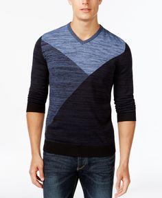 Alfani Black Intarsia Marled V-Neck Sweater, Only at Macy's