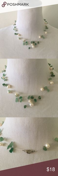 "Jade and freshwater pearl illusion necklace 18"" Gorgeous 3 strand fresh water pearl with jade necklace on clear wire. Creates the illusion that the stones are floating on your skin. Can be worn for a romantic night out or with a cute, casual summer dress. Length 18 inches. Jewelry Necklaces"