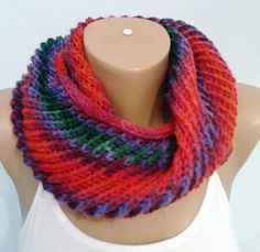 Knit Infinity Scarf Neck Warmer Circle scarf Colorful Scarf by KNITANDCROCHETWORLD on Etsy