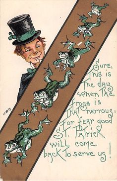 HBG St. Patricks Day with his Top Hat and Frogs Greeting Antique Postcard A1058