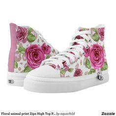 Floral animal print Zipz High Top Printed Shoes