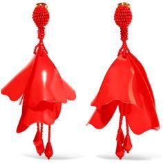 Oscar de la Renta - Large Impatiens Resin Clip Earrings - Red  https://api.shopstyle.com/action/apiVisitRetailer?id=622228117&pid=uid2500-37484350-28