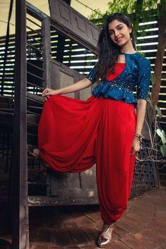 Red Dotti Dress with Cobalt Blue Peplum Indian Fashion Dresses, Indian Gowns Dresses, Dress Indian Style, Indian Designer Outfits, Fashion Outfits, Fashion Trends, Designer Party Wear Dresses, Kurti Designs Party Wear, Party Dresses