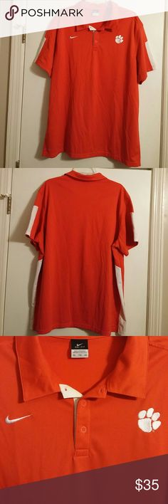 Nike Mens Dri-Fit Clemson Tigers Polo Shirt Nice Nike dri-fit Clemson Tigers Polo shirt. Really nice pre-owned condition. Has the Nike swoosh on the right front and the Clemson Tiger Paw on the left front.  Comes from a pet/smoke free home.  Thanks Nike Shirts Polos