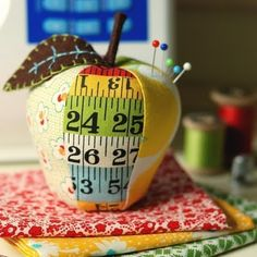 Apple pincushion.  #pincushion #apple #teacher