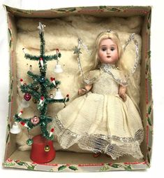 Antique vintage bisque Christmas fairy angel doll and miniature feather tree. Victorian Christmas Decorations, Shabby Chic Christmas, Nordic Christmas, Christmas Past, Vintage Christmas Ornaments, 1950s Christmas, Christmas Stuff, Christmas Tree Fairy, Fairy Tree