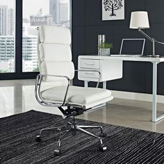 The Domino High Back Office Chair | The back of the Domino Chair is comprised of two genuine leather-padded cushions. Side-by-side they support your back in admirable fashion. The padding on the seat is no less impressive: All stitching on these leather cushions is finely upholstered. The frame is constructed from highly polished chrome-plated steel | Free Shipping on this chair!