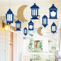 Hanging Ramadan - Hanging Outdoor Decor - Eid Mubarak Decorations - 10 Pieces Big Dot of Happiness