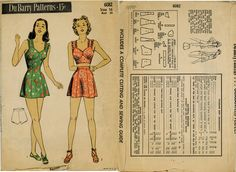 1940s (1945) Misses 1-pc or 2-pc bathing suit and trucks DuBarry 6082