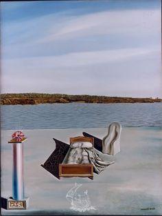 Composición surrealista con figuras invisibles.