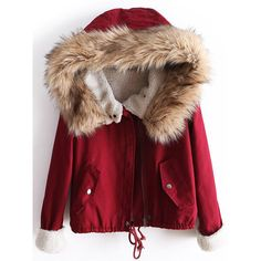 SheIn(sheinside) Red Fur Hooded Long Sleeve Drawstring Coat (€37) ❤ liked on Polyvore featuring outerwear, coats, red parka coat, parka coats, hooded parka coat, hooded quilted coat and quilted parka