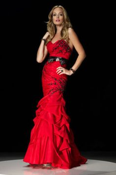 Buy Sweetheart Mermaid Red Taffeta Lace Up Evening Dresses Beaded Ruffled On line
