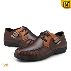Mens Causal Leather Flat Loafers Shoes CW701115 Brown $148.89 - www.cwmalls.com