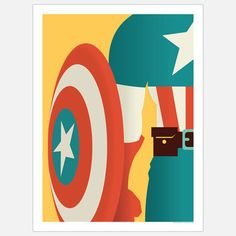 The Captain, $15, now featured on Fab. [Retro minimalist art poster print, Captain America, The Avengers, Andrew Heath]