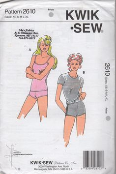 Kwik Sew 2610 Misses Close Fitting T Shirt Camisole and Boy Cut Panties womens sewing pattern  by mbchills