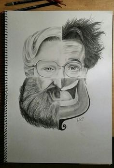 Drawing Faces Design Awesome tribute to Robin Williams! Would make a cool art project/practice with drawing faces - Art Du Croquis, Drawn Art, Wow Art, Art Plastique, Cool Drawings, Drawing Faces, Pencil Drawings, Amazing Drawings, Art Sketches