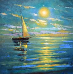 La luna - oil on canvas Dmitry Spiros. sea oil painting on canvas. Sea art. sea…