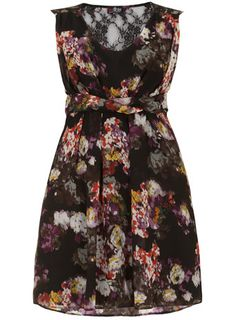 Black lace back floral dress