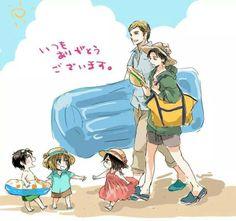 Attack on Titan ~~ AU Wherein Levi and Erwin take chibis Eren, Mikasa, and Armin to the beach. Awwwe!