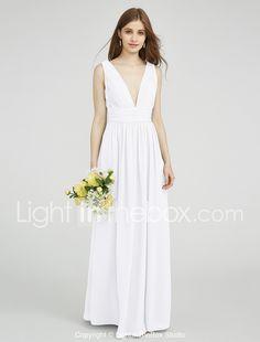 95ac523ee308d   109.99  タイト/コラム vネック フロア丈 シフォン サイドドレープ   フリル ととも に ブライドメイドドレス 〜によって lan  ting bride®